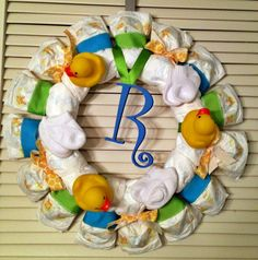 Personalized DIAPER WREATH Baby Shower Gift by DiapersAndDoodads, $40.00