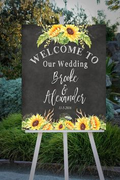 Graduation Party Decor Discover Wedding Welcome sign Custom wedding sign large format printable sign chalkboard sign floral wedding you print Floral Wedding, Fall Wedding, Rustic Wedding, Our Wedding, Wedding Flowers, Dream Wedding, Trendy Wedding, Wedding Bride, Sunflower Wedding Decorations