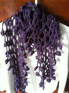 Ravelry: Passion Plum Flowers Scarf free pattern by Dora Lenchuk