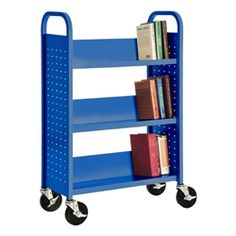 "Sandusky Lee Single-Sided Sloped-Shelf Book Truck (30"" W) https://www.schooloutfitters.com/catalog/product_info/pfam_id/PFAM6345/products_id/PRO16440"