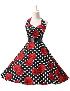 GRACE KARIN Women Vintage 1950s Party Swing Dress with Sash at Amazon Women s  Clothing store  bc6cfe6e0347