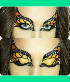 Monarch Butterfly Eye Makeup:  This is so pretty, I want to try different butterfly varieties as well....