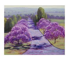 JACARANDA TREES PAINTING spring street road landscape by gercken