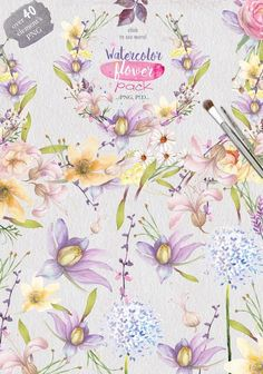 40 Watercolor flower pack by Mikibith on @creativemarket