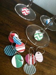 paper wine charms - would be great for a themed party or shower