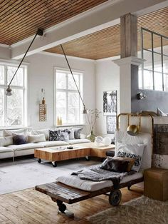 Discover your home's decor personality: warm industrial inspirations. Warm Industrial, Industrial House, Industrial Style, Industrial Bedroom, Vintage Industrial, Industrial Furniture, Unique Vintage, Industrial Design, Loft Spaces