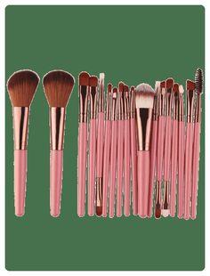 6157b11922a 18Pcs Multifunctional Facial Makeup Brushes Set (Pinkish brown)
