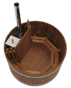 Wooden Wood Burning Hot Tub | eBay