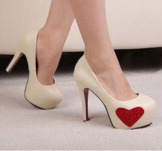 beige #bedazzleme heart #pumps