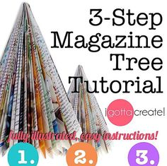 Make beautiful trees out of magazines in 3 simple steps! Book Christmas Tree, How To Make Christmas Tree, Christmas Tree Painting, Christmas Tree Crafts, Christmas Projects, Christmas Ornaments, Christmas Stuff, Holiday Crafts, Manualidades