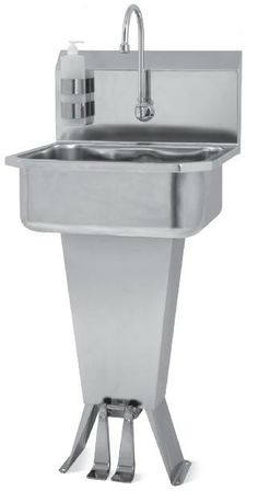 Sani-Lav Hands-Free Floor Mount Sink with Double Foot Operated Valve Small Bowl Review Buy Now