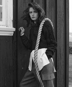 The model wears winter looks for the fashion editorial photographed by Hans Neumann
