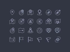 Maps, Map Markers & Location Icon Set