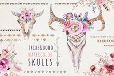 Watercolor boho skulls by Peace ART on @creativemarket