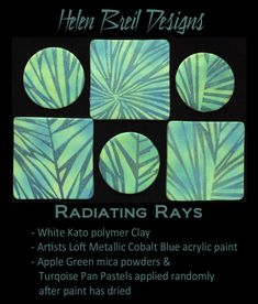 Last but not least here are examples of the Radiating Rays silkscreen design in… Polymer Clay Canes, Polymer Clay Pendant, Clay Beads, Polymer Clay Jewelry, Hobbies For Couples, Rc Hobbies, Finding A Hobby, Clay Tutorials, Cold Porcelain