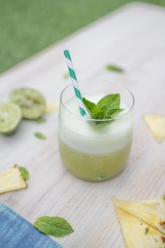 The Summer Whisky Slush is a frozen cocktail that blends whisky with fresh pineapple, lime, mint and honey. It's cool, it's tasty and it's very, very summery.