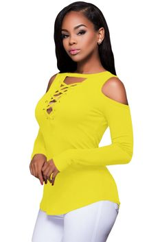 24acbfb987 Yellow Long Sleeve Cut-out Shoulder Ribbed Top