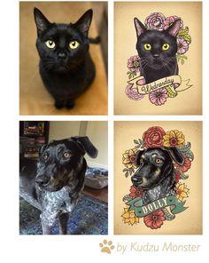 Personalizado ilustrado perro retrato con por KudzuMonsterArt Cat Portrait Tattoos, Dog Tattoos, Animal Tattoos, Dog Portraits, Tattoo Perro, Traditional Tattoo Flowers, Tatto Old, Tattoo Schwarz, Black Cat Tattoos