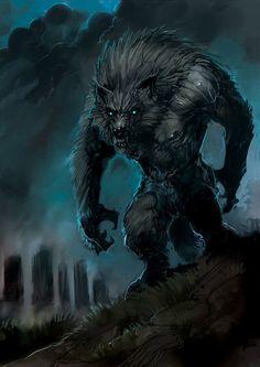 Night Werewolf by zoppy Dark Fantasy, Fantasy World, Fantasy Art, Fantasy Creatures, Mythical Creatures, Werewolf Art, Arte Robot, Vampires And Werewolves, Creatures Of The Night