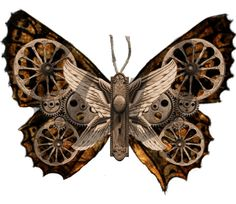 Steampunk Butterflies - 6 PNG Images Digital Download - for ACEO, Tags, Collage Art, and More. $3.65, via Etsy.
