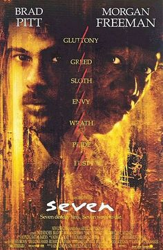 Seven a film by David Fincher + MOVIES + Morgan Freeman + Brad Pitt + Kevin Spacey + Andrew Kevin Walker + Daniel Zacapa + Gwyneth Paltrow + cinema + Crime + Mystery + Thriller Film Seven, Seven 1995, Seven Movie, Scary Movies, Great Movies, Horror Movies, Kevin Spacey, Film Movie, Movies Showing