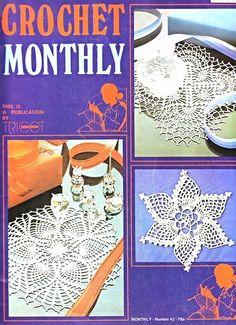 Crochet Monthly 42 - Lita Z - Álbuns da web do Picasa Crochet Doily Diagram, Crochet Doily Patterns, Crochet Chart, Filet Crochet, Crochet Designs, Crochet Doilies, Crochet Bedspread, Knitting Books, Crochet Books