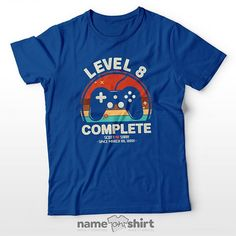 Personalized 8th Anniversary Gamer Level T-Shirt - Classic Blue / L