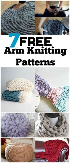 7 free arm knitting tutorials including a chunky knit blanket, pouf, scarf, cat bed, rug and more! Beginner knitting patterns. #knitting #patterns #chunkyknits #blankets