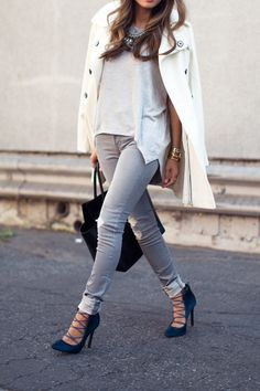 Closed toe lace up pumps finish off this outfit of grey skinnies & white upper layers...x