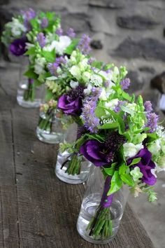 wedding flowers-green and purple but in mason jars instead