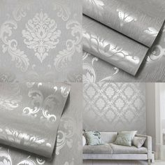 Henderson Interiors Chelsea Glitter Damask Wallpaper Soft Grey / Silver - Wallpaper from I love wallpaper UK