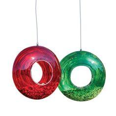 Circle Glass Fly-Thru Bird Feeder in Red or Green