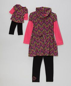 Take a look at this Pink & Black Zigzag Layered Tunic Set & Doll Outfit - Girls by Dollie & Me on #zulily today!
