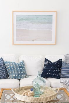 coastal living rooms If looking at the ocean makes you happy, let it take center stage in your home with a large ocean art painting or photograph. Beach Cottage Style, Coastal Cottage, Coastal Homes, Beach House Decor, Coastal Style, Coastal Decor, Cottage Living, Coastal Wall Art, Cottage House