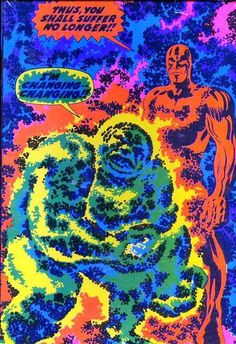 """I wanted to include this image in the """"Kirby Crackle"""" article, but I couldn't find it. Here is the Silver Surfer Third Eye black light poster with prodigious crackle. Comic Book Artists, Comic Artist, Comic Books, Jack King, Marvel Kids, Jack Kirby Art, 70s Sci Fi Art, Black Light Posters, Steve Ditko"""