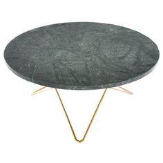 O sofabord, grønn marmor/messing