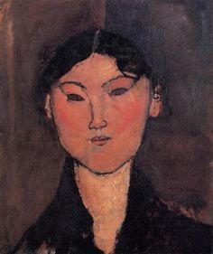 'Frauenkopf (auch als Rosalia bekannt)', öl auf leinwand von Amedeo Modigliani (1884-1920, Italy)