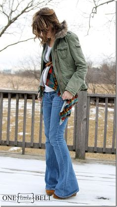 maternity street style- military jacket, belted tribal vest