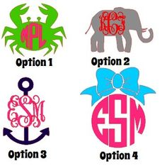 Preppy Vinyl Decal Sticker Anchor with Monogram (Option 3) by Tootlebugs, $6.00
