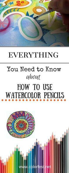 Watercolor Pencils Techniques, Watercolor Pencil Art, Colored Pencil Techniques, Watercolor Tips, Watercolour Tutorials, Watercolor Art Lessons, Simple Watercolor, Watercolor Water, Tattoo Watercolor