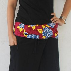blue flowers on red fabric fold-over with black by meatballtheory
