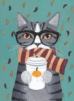 Peter was so excited for fall! Scarves and pumpkin coffee? Yes please!Copyright © Ryan Conners