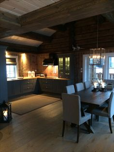 Rustic Log Homes. Cabin Homes, Log Homes, Küchen Design, House Design, Norway House, Cabin Interiors, Cabana, Interior Design Living Room, Sweet Home