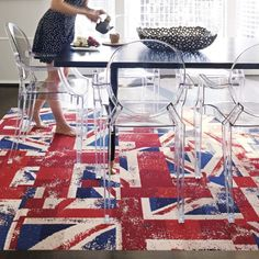 Union Jack #dining room rug and ghost chair.   I WILL have this chair!