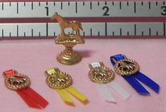 Dollhouse Miniature Trophy Ribbon Set Horse Island Crafts | Great for teen girl room or tack room.