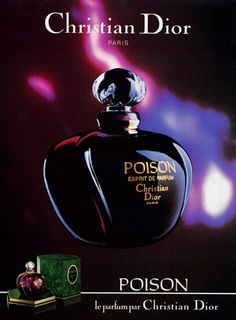 Christian Dior (Perfumes) 1987 Poison Will always be my favorite Parfum Poison Dior, Perfume Ad, Perfume And Cologne, Perfume Oils, Perfume Bottles, Christian Dior Poison, Christian Dior Paris, Christian Dior Perfume, Perfume Collection