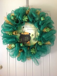 St Patrick's Day Wreath by TammysFlowersandmore on Etsy, $60.00