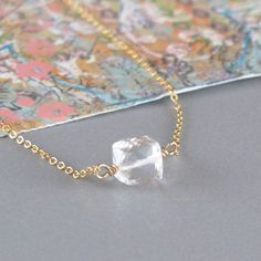 Tiny Rock Crystal Cube Gemstone 14k Gold Filled Chain by DJStrang