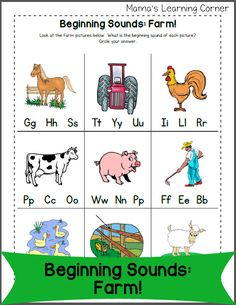 Download a fun farm-themed beginning letter sounds worksheet for your young reader!