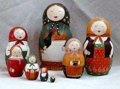 A set of Matryoshkas - Russian nesting dolls. #folk #art #Russian #dolls